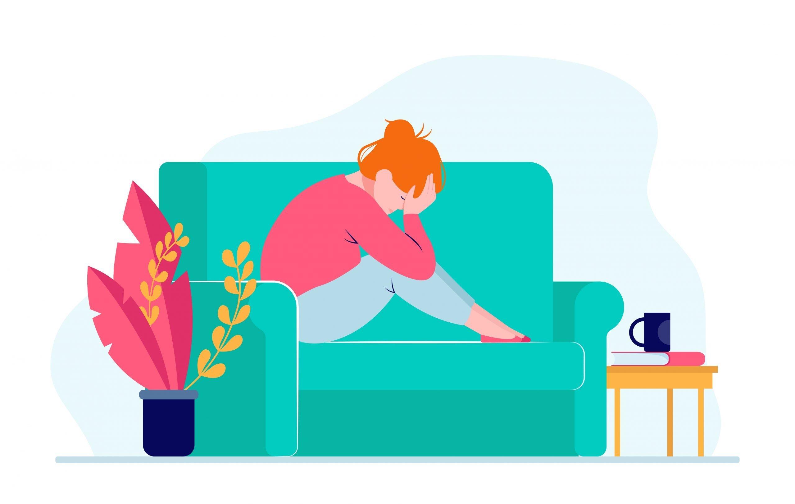 Mujer deprimida y sola