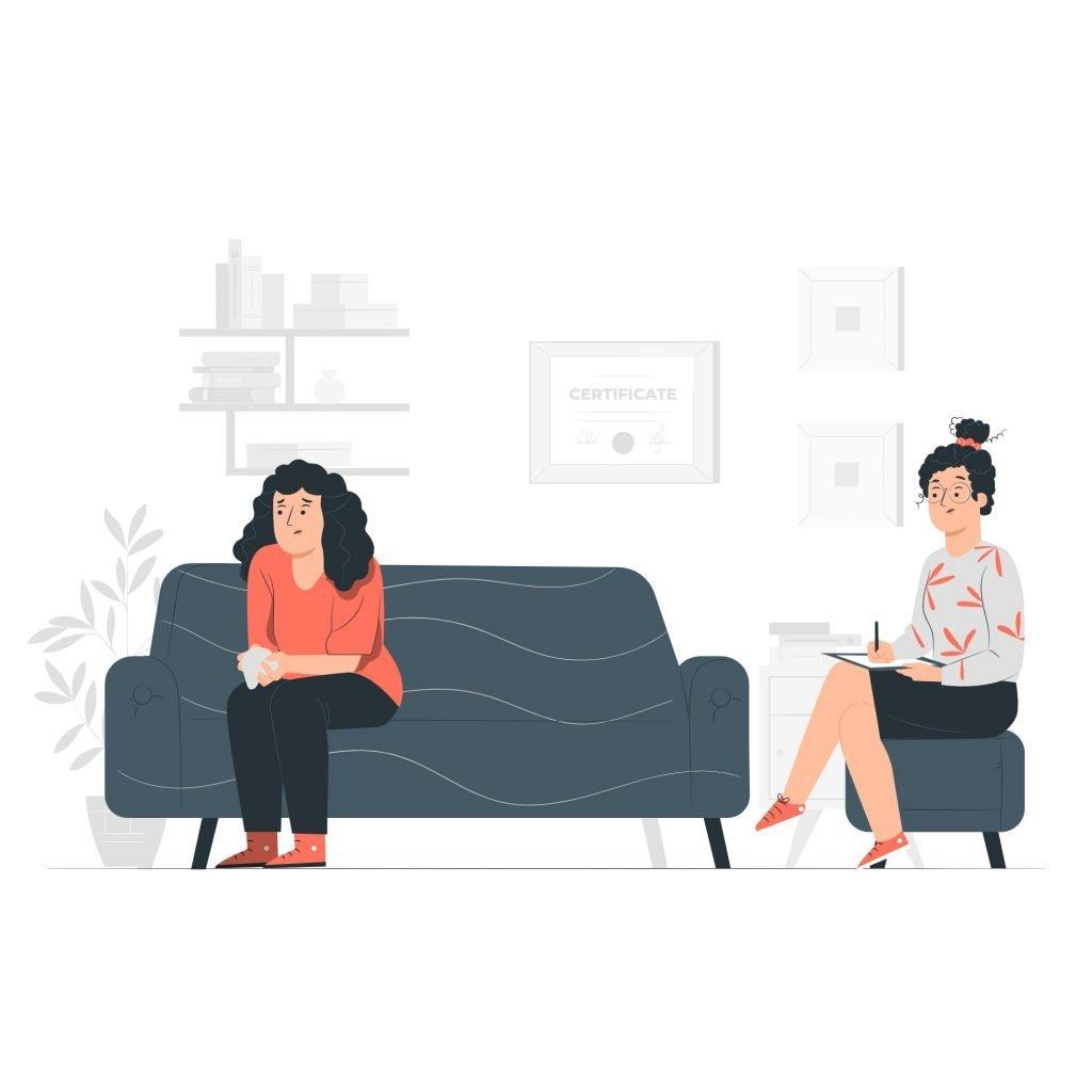 mujer recibiendo terapia con una psicóloga